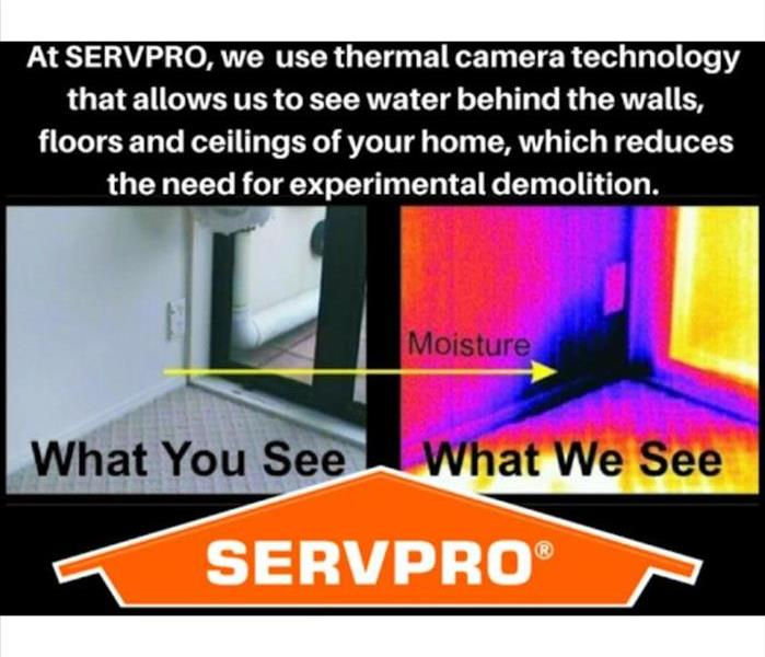 Thermal Imaging camera view with and without, side by side comparison or the visible water damage